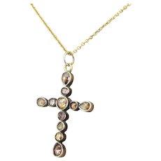 Georgian 0.70 Carat Rose Cut Diamond Cross Pendant, circa 1820