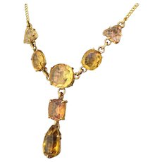 Victorian Topaz & Citrine Drop Necklace, circa 1900