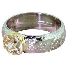 Mid Century 1.43 Carat Light Yellow Diamond Solitaire Ring, circa 1955