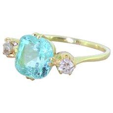 Victorian 2.90 Carat Paraiba Tourmaline & Old Cut Diamond Trilogy Ring, 18k Gold