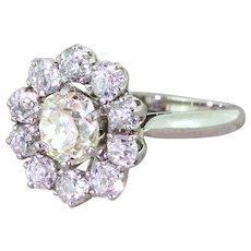 Mid Century 3.18 Carat Old Cut Diamond Cluster Ring, French, circa 1960