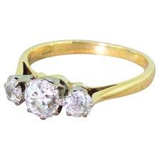Mid Century 1.08 Carat Old Cut Diamond Trilogy Ring, circa 1960