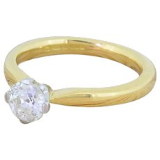 0.72 Carat Old Cut Diamond Engagement Ring, 18k Gold
