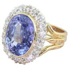 Art Deco 9.14 Carat Natural Ceylon Sapphire & Diamond Ring, circa 1925