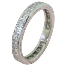 Mid Century 2.16 Carat Carré Cut Diamond Eternity Ring, dated 1950