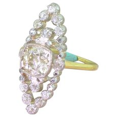 Edwardian 1.62 Carat Light Cognac Navette Cluster Ring, circa 1905