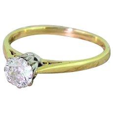 Art Deco 0.55 Carat Old Cut Diamond Solitaire Engagement Ring, circa 1940