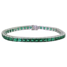Art Deco 6.90 Carat French Cut Emerald Line Bracelet, circa 1930