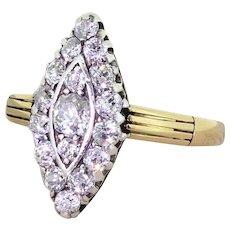 Victorian 1.27 Carat Old Cut Diamond Navette Ring, circa 1900