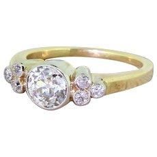 Art Deco 0.85 Carat Old Cut Diamond Engagement Ring, circa 1940
