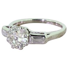 Art Deco 1.50 Carat Old European Cut Diamond Engagement Ring, circa 1920