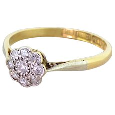 Art Deco 0.20 Carat Old Cut Diamond Daisy Cluster Ring, dated 1925