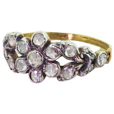 "0.67 Carat Rose Cut Diamond ""Daisy"" Ring, 18k Yellow Gold"