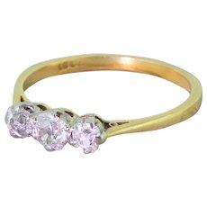 Edwardian 0.70 Carat Old Cut Diamond Trilogy Ring, circa 1905
