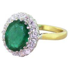 Mid Century 2.00 Carat Emerald & Diamond Cluster Ring, circa 1950