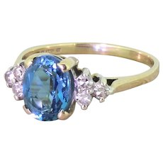 Late 20th Century 1.30 Carat Blue Topaz Solitaire Ring, dated 1987