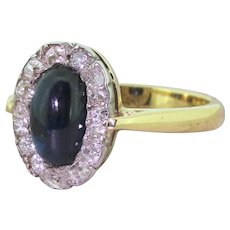 Victorian Cabochon Sapphire & Old Cut Diamond Cluster Ring, circa 1880