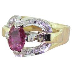 Avant Garde Oval Cut Ruby & Diamond Dress Ring, circa 1960