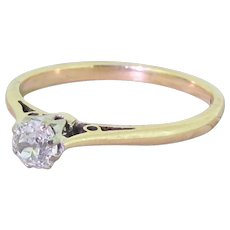 Late 20th Century 0.40 Carat Old Cut Diamond Engagement Ring, dated 1984