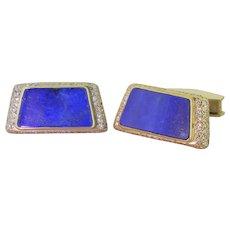 Mid Century Lapis Lazuli & Diamond Cufflinks, circa 1965