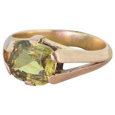 Victorian 3.47 Carat Green Sapphire Gypsy Style Ring, circa 1900
