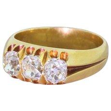 Victorian 1.50 Carat Old Cut Diamond Trilogy Ring, circa 1880