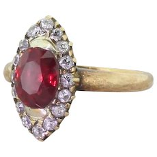 Victorian 1.51 Carat Ruby & Old Cut Diamond Navette Ring, circa 1890
