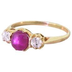 Victorian Star Ruby & Old Cut Diamond Trilogy Ring, circa 1900