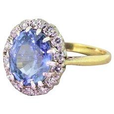 Retro 3.00 Carat Sky Blue Sapphire & Diamond Ring, circa 1940