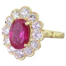 Late 20th Century 3.00 Carat Ruby & Diamond Cluster Ring, circa 1980