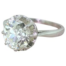 Art Deco 3.23 Carat Old Cut Diamond Engagement Ring, French, circa 1930