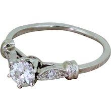Retro 0.55 Carat Old European Cut Diamond Engagement Ring, circa 1945