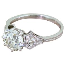 Art Deco 1.51 Carat Old European Cut Diamond Engagement Ring, circa 1925