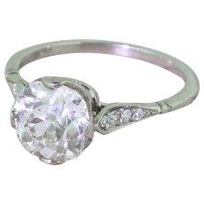 Art Deco 2.41 Carat Old Cushion Cut Diamond Engagement Ring, circa 1915