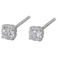 0.52 Carat Old Cut Diamond Stud Earrings, 18k White Gold