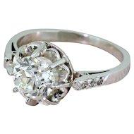 Art Deco 1.30 Carat Old Cut Diamond Engagement Ring, French, circa 1920