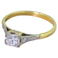 Mid Century 0.30 Carat Transitional Cut Diamond Engagement Ring, circa 1960