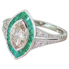 0.86 Carat Marquise Cut Diamond & Calibé Cut Emerald Ring, 18k White Gold