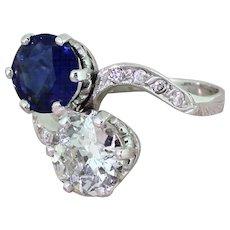 Art Deco 1.90 Carat Natural Sapphire & 1.59 Carat Old Cut Diamond Crossover Ring, circa 1925