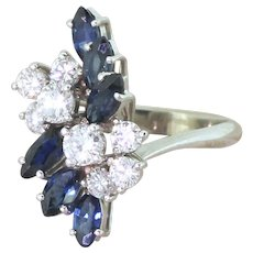 Mid Century 1.00 Diamond & 1.62 Carat Sapphire Spray Ring, circa 1965