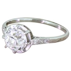 Art Deco 1.51 Carat Old Cut Diamond Engagement Ring, French, circa 1920