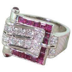 Mid Century Ruby & Brilliant Cut Diamond Buckle Ring, circa 1960