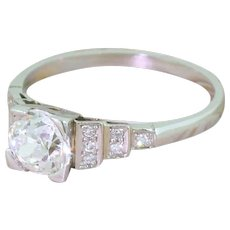 Art Deco 1.00 Carat Old Cut Diamond Engagement Ring, circa 1935