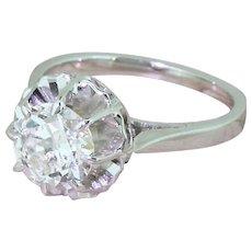 Mid Century 1.50 Carat Old European Cut Diamond Engagement Ring, French, circa 1955