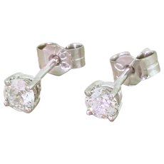 0.37 Carat Old Cut Diamond Stud Earrings, 18k White Gold