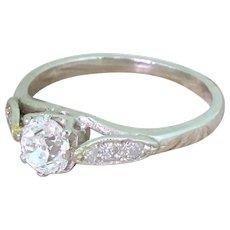 Art Deco 0.52 Old Cut Diamond Engagement Ring, circa 1940
