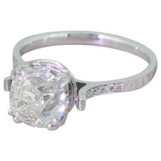 Art Deco 2.07 Carat Old Cut Diamond Engagement Ring, circa 1930