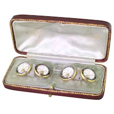 "Edwardian Essex Crystal ""Elks Lodge"" Cufflinks, Boxed, circa 1910"