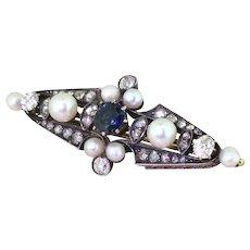 Victorian Sapphire, Diamond & Pearl Brooch, circa 1900