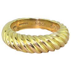 BOUCHERON 18k Yellow Gold Grooved Ring, French, circa 1970